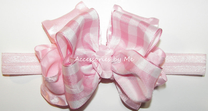 Frilly Gingham Ruffle Bow Skinny Headband - Accessories by Me