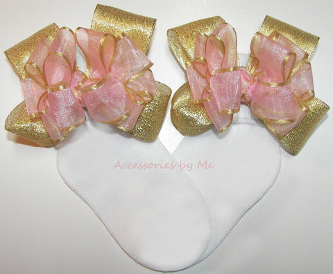 Blush Pink Gold Organza Metallic Bow Socks