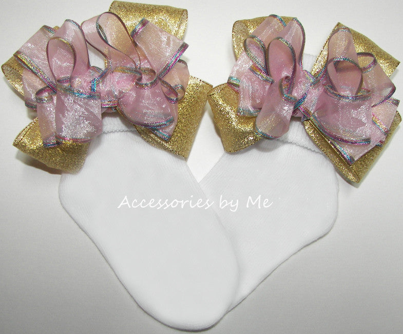 Pink Gold Iridescent Metallic Bow Socks