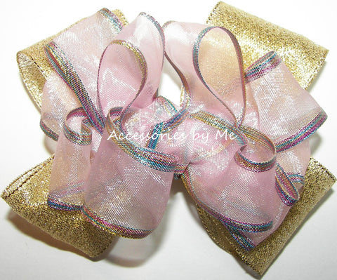 Pink Gold Iridescent Organza Metallic Hair Bow