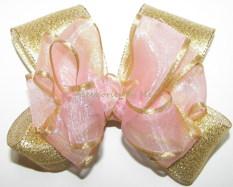 Blush Pink Gold Organza Satin Metallic Hair Bow - Accessories by Me