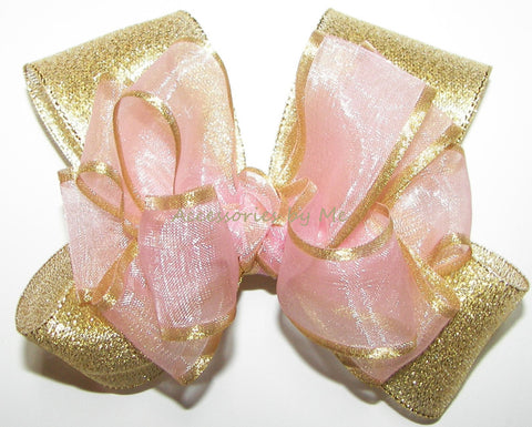 Blush Pink Gold Organza Satin Metallic Hair Bow