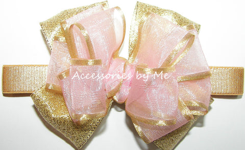 Blush Light Pink Gold Bow Baby Headband