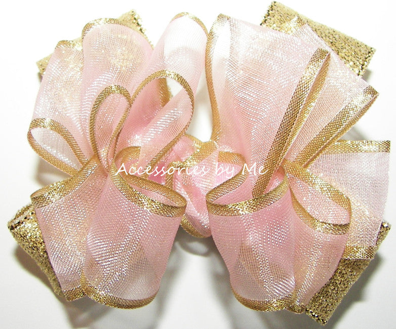 Blush Pink Gold Organza Metallic Hair Clip