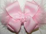 Light Pink Marabou Bow Headband