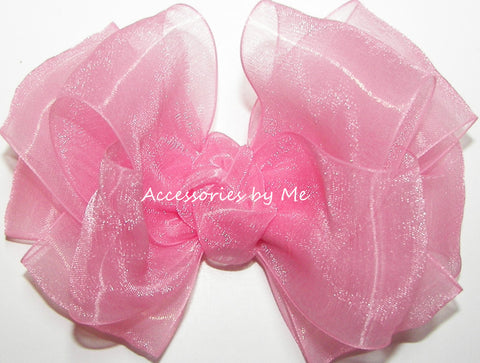 Pink Organza Hair Bow