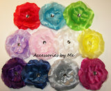 Glitzy Organza Peony Flower Marabou Hair Bow - Accessories by Me
