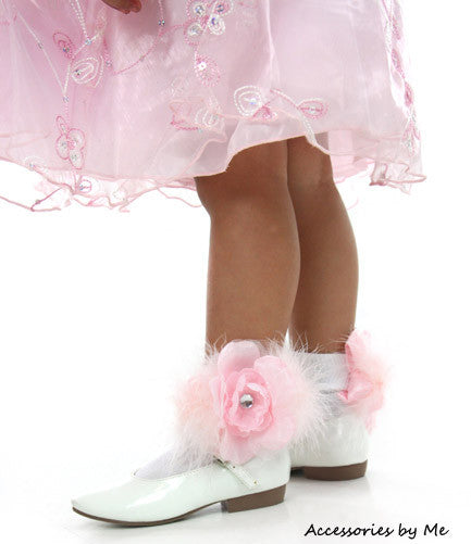 Glitzy Organza Peony Flower Marabou Socks - Accessories by Me