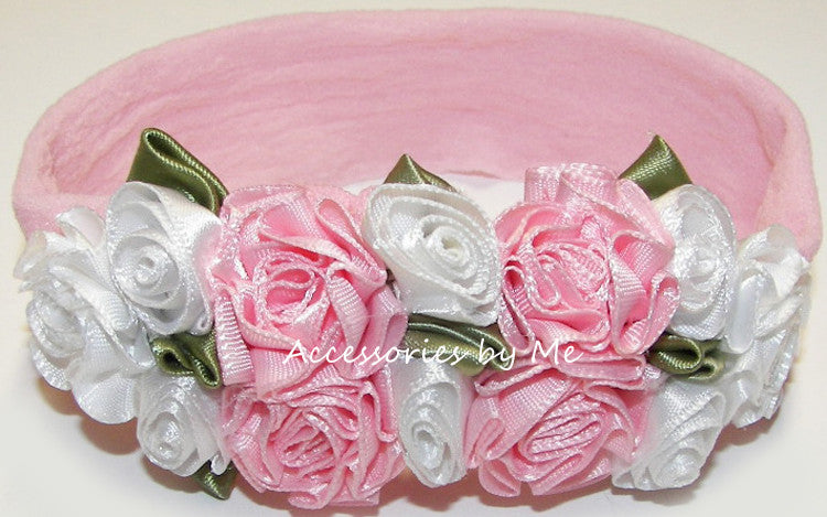 Frilly Pink White Roses Floral Nylon Headband - Accessories by Me