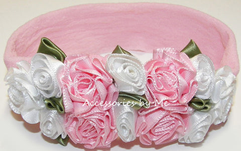 Frilly Pink White Roses Floral Nylon Headband