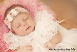 Frilly Light Pink White Roses Floral Nylon Headband - Accessories by Me