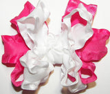 Frilly Pink White Ruffle Hair Bow