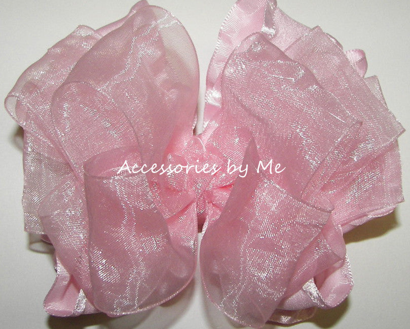 Frilly Light Pink Organza Ruffle Hair Bow - Accessories by Me
