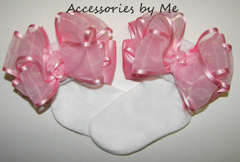 Frilly Pink Organza Satin Bow Socks