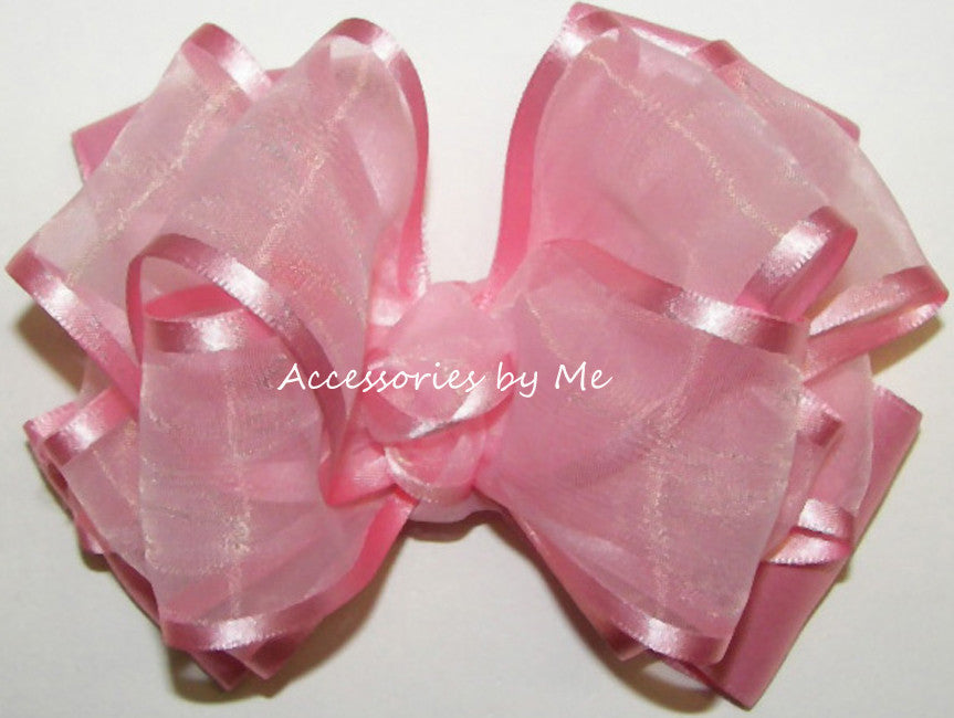 Frilly Pink Organza Satin Trim Hair Bow - Accessories by Me