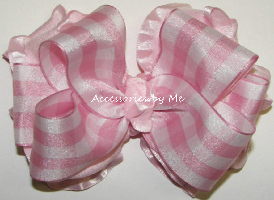 Frilly Gingham Plaid Ruffle Hair Bow - Accessories by Me