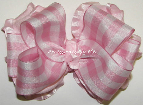 Frilly Gingham Plaid Ruffle Hair Bow