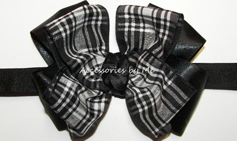 Black White Tartan Plaid Bow Headband