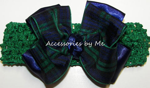 Blackwatch Navy Green Tartan Plaid Bow Headband