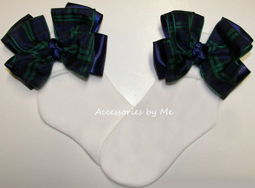 Blackwatch Tartan Plaid Navy Blue Green Bow Socks - Accessories by Me