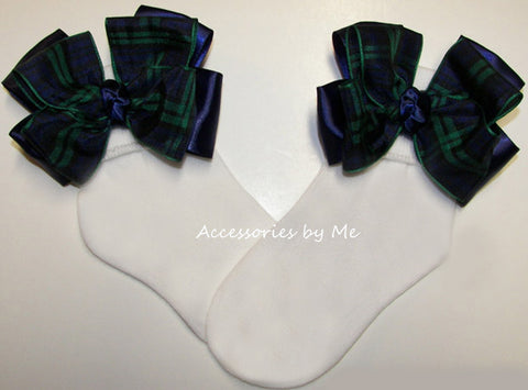 Blackwatch Tartan Plaid Navy Blue Green Bow Socks