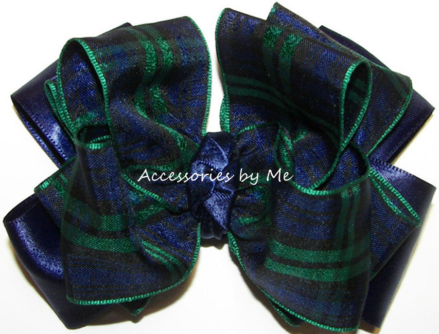 Blackwatch Tartan Plaid Navy Blue Green Hair Bow - Accessories by Me