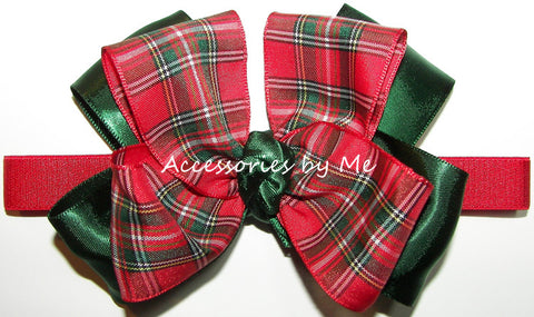 Plaid Red Green Bow Headband