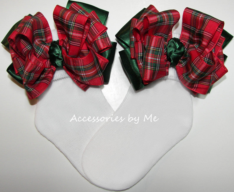 Tartan Plaid Red Green Bow Socks