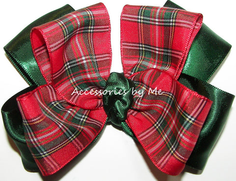 Tartan Plaid Red Green Satin Hair Bow
