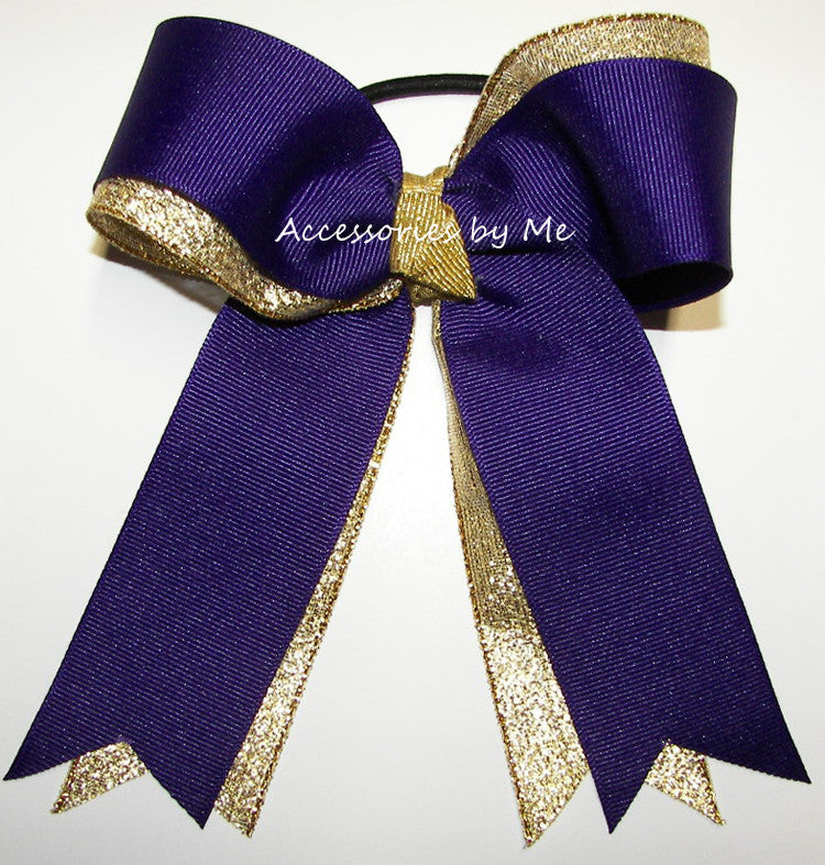 Wholesale Purple Gold Metallic Ponytail Holder Cheer Bow