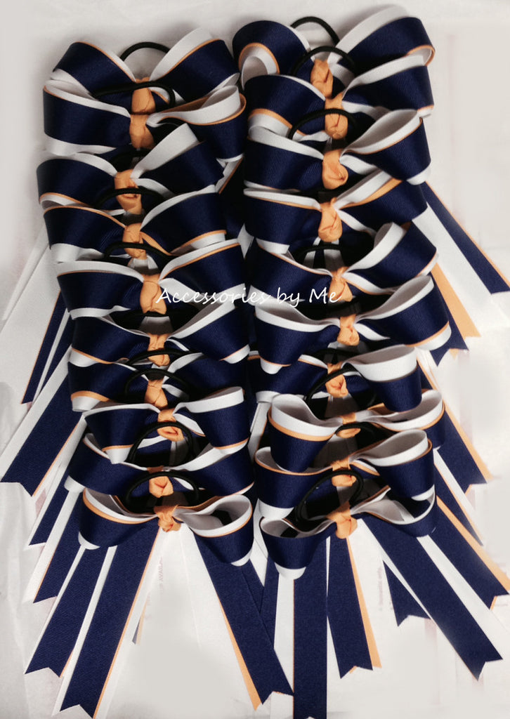 Bulk Lot 20 Cheer Bows Purple Yellow Gold White Ponytail Holder - Accessories by Me
