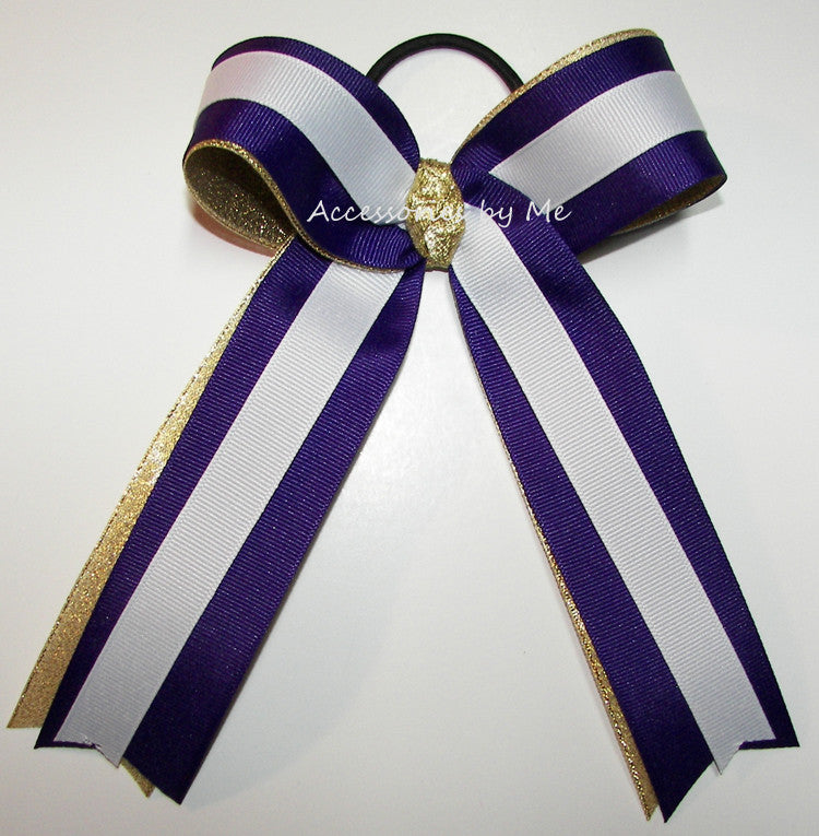 Purple Gold White Ponytail Holder Sports Bow - Accessories by Me