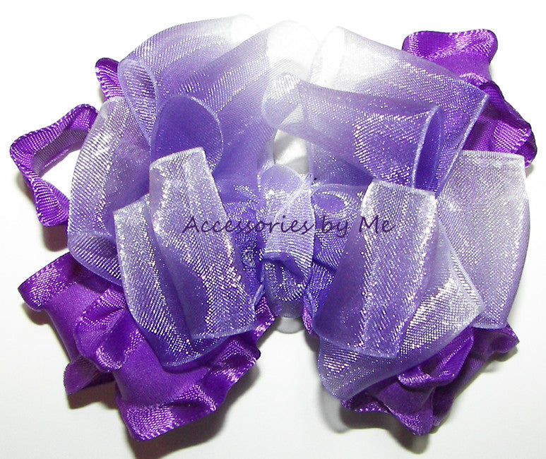 Frilly Purple White Ombre Organza Ruffle Hair Bow - Accessories by Me