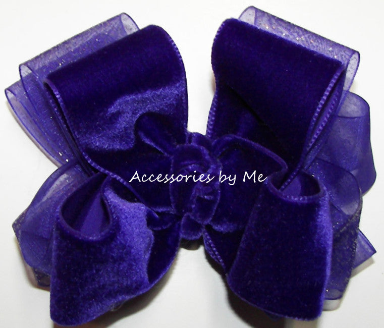 Purple Velvet Glitter Organza Hair Bow