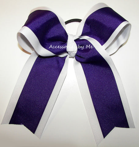Wholesale Purple White Ponytail Holder Cheer Bow
