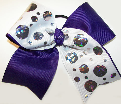 Sparkly Purple White Foil Cheer Bow