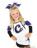 Purple White Big Cheer Bow