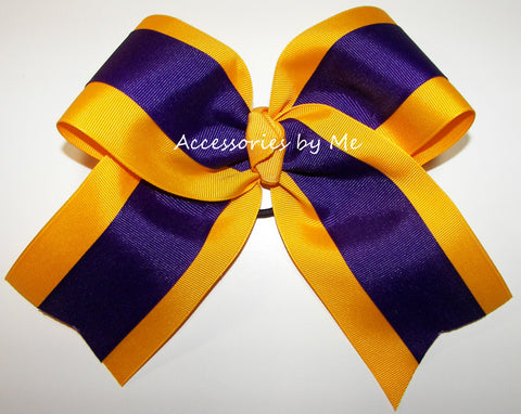 Wholesale Purple Yellow Gold Ponytail Holder Cheer Bow