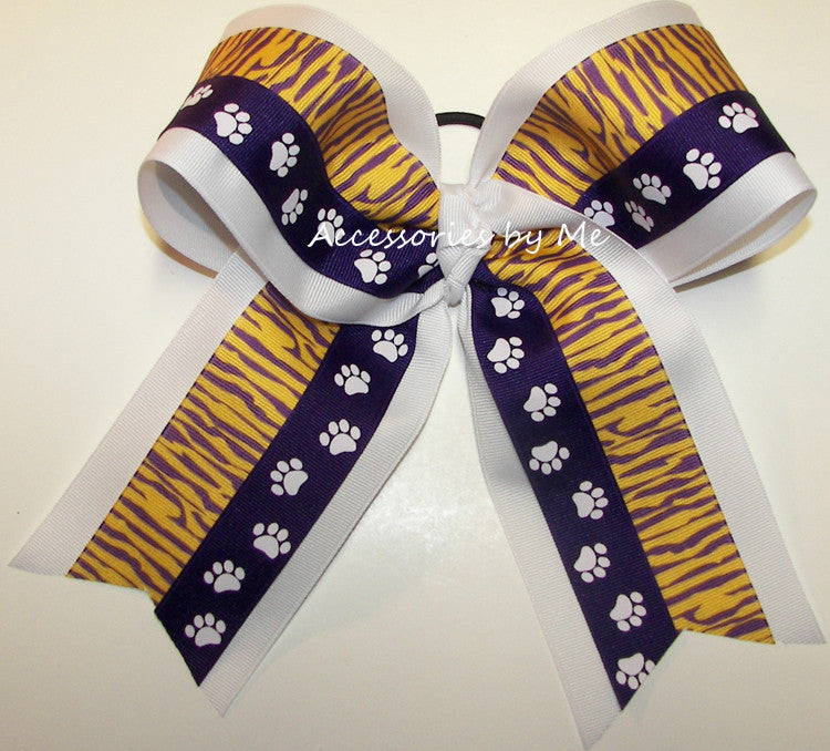 Tigers Purple Paw Print Big Cheer Bow