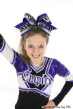 Zebra Purple Black Silver Big Cheer Bow