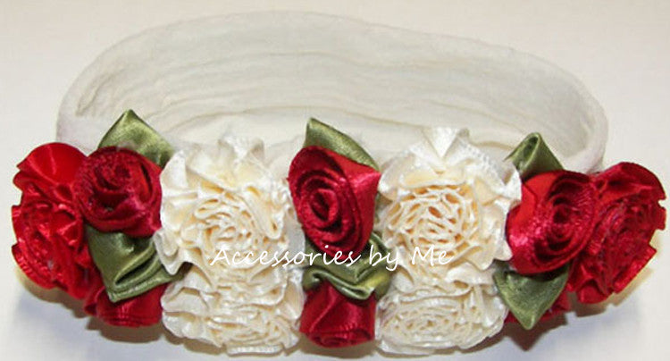 Red Ivory Roses Floral Nylon Headband