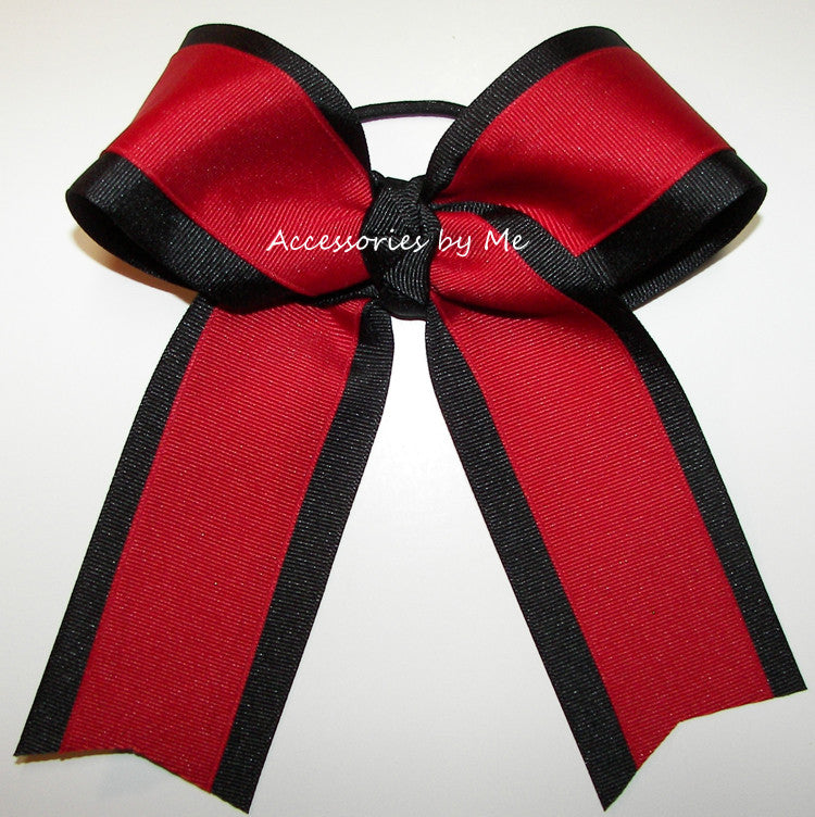 Wholesale Red Black Ponytail Holder Cheer Bow