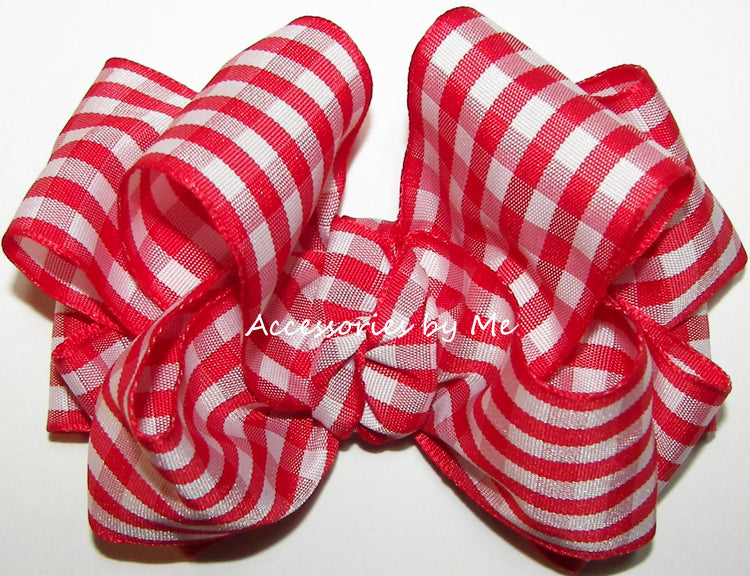 Red Plaid Gingham Hair Bow