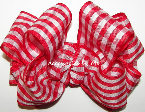 Gingham Plaid Hair Bow