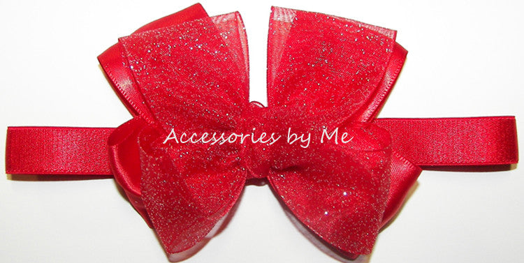 Glitter Red Organza Satin Bow Baby Headband - Accessories by Me