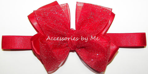 Glitter Red Organza Satin Bow Baby Headband