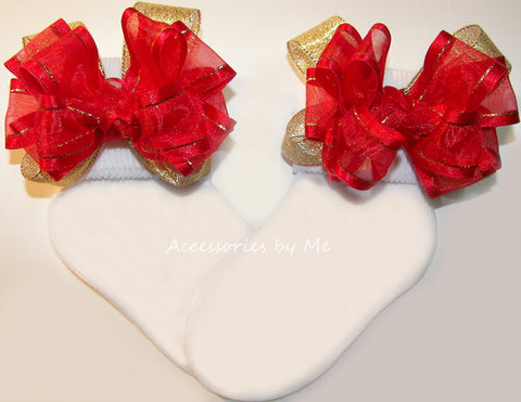 Red Gold Organza Metallic Bow Socks