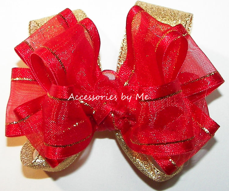Red Gold Satin Trim Metallic Hair Bow