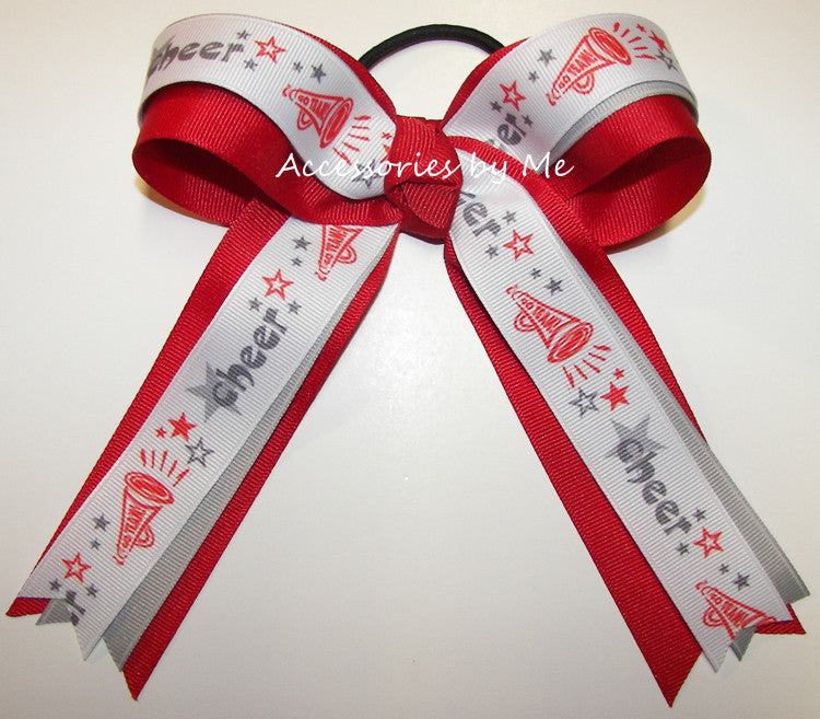 Cheerleader Red Gray Ribbons Ponytail Holder Bow - Accessories by Me