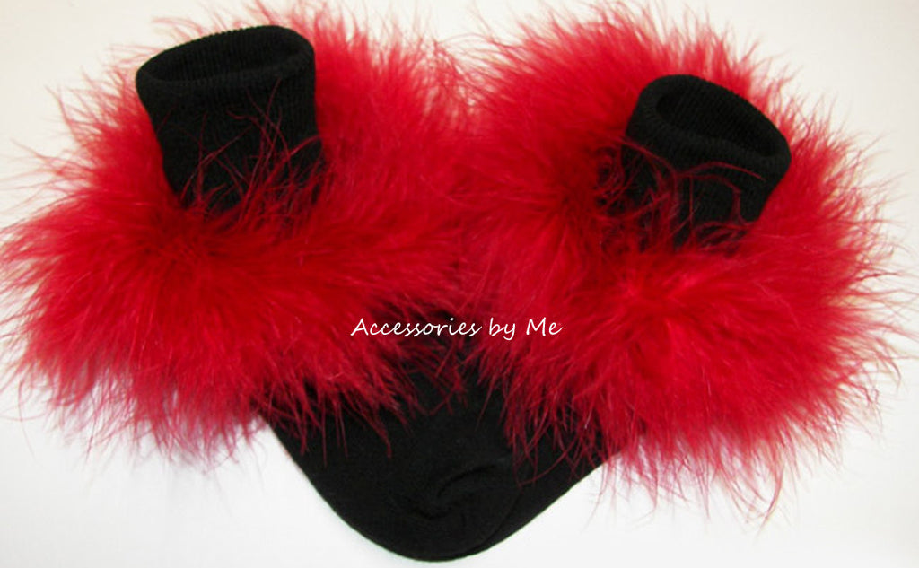 Frilly Red Marabou Trim Black Socks - Accessories by Me